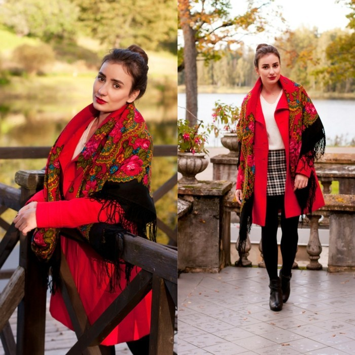 Foulard manteau rouge